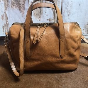 Leather fossil tan Sydney satchel